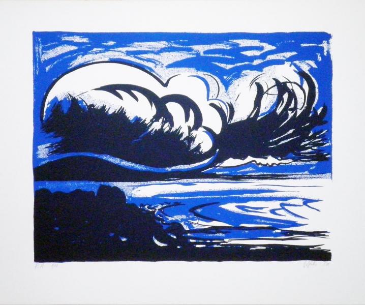 """Hannes Hofstetter, """"Bucht"""",1988  Serigraphie 50 X 60 cm"""