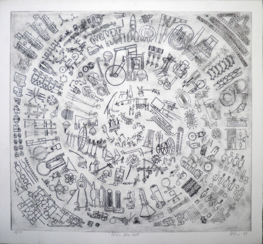 Hannes Hofstetter, Schöne Neue Welt, Radierung, 1994