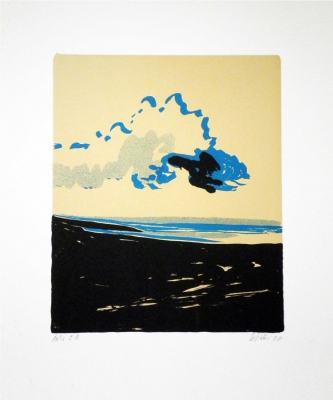 "Hannes Hofstetter, ""Wolke"",1981  Serigraphie 60 X 50 cm"