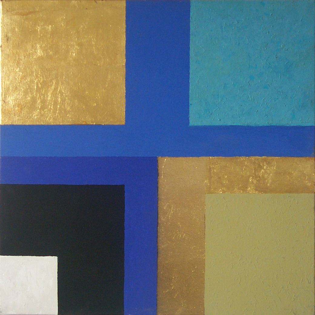 "Hannes Hofstetter,""Cross Blue Gold Black"",2001年,金箔,亚克力,帆布,80 x 80 x 2厘米"